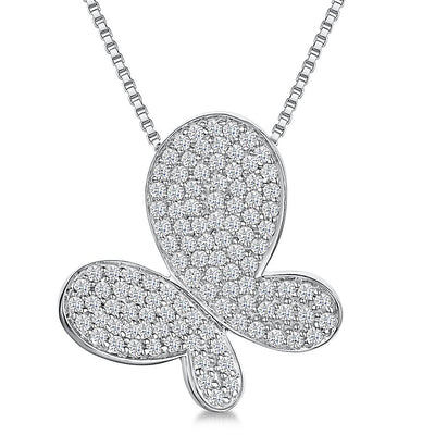 Sterling Silver Large Pave Set Butterfly Necklacependant - JOOLS By Jenny Brown