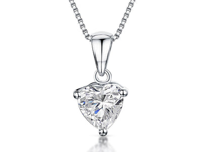 Sterling Silver Heart Pendant With Cubic ZirconiaPendants - JOOLS By Jenny Brown