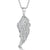 Sterling Silver Angel Wing Pendant Set With Cubic Zirconia Stones