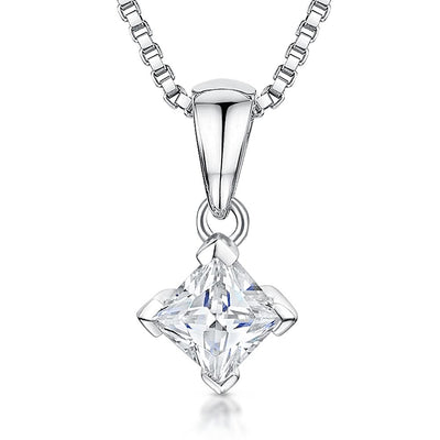 Sterling Silver Pendant - Square 3mm Cubic Zirconia- Set OnFine 16-18 Inch Box ChainPendants - JOOLS By Jenny Brown