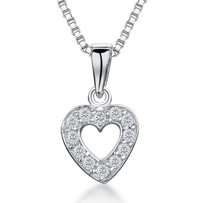 Sterling Silver Heart Pendant - Set With Cubic Zirconia StonesPendants - JOOLS By Jenny Brown