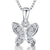 Sterling Silver Small Butterfly Pave Set Necklace