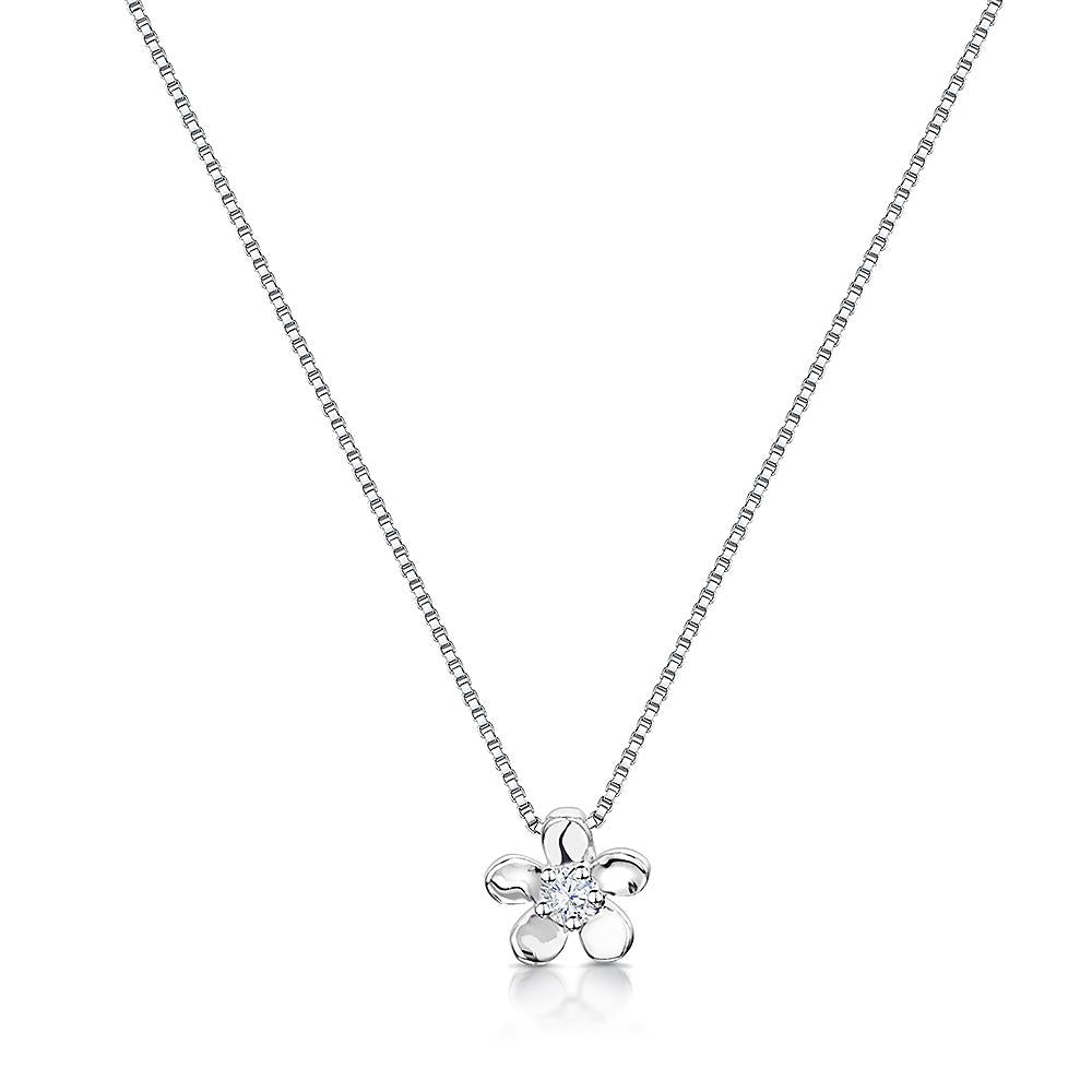 Sterling Silver Flower Pendant - Five Petal Silver Flower With Cubic Zirconia Stones Centres - JOOLS By Jenny Brown