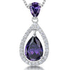 Sterling Silver Amethyst Zirconia Teardrop Pendant Set With A Teardrop BalePendants - JOOLS By Jenny Brown