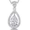 Sterling Silver Light Pink   Zirconia Teardrop Pendant Set With A Teardrop BalePendants - JOOLS By Jenny Brown