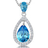 Sterling Silver Ocean Blue Zirconia Teardrop Pendant Set With A Teardrop BalePendants - JOOLS By Jenny Brown