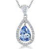 Sterling Silver Blue Topaz  Zirconia Teardrop Pendant Set With A Teardrop BalePendants - JOOLS By Jenny Brown