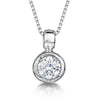 Sterling Silver Pendant- 6 mm Rubover Set CZ StonePendants - JOOLS By Jenny Brown