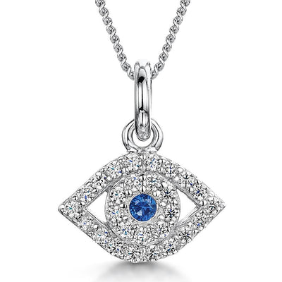 Sterling Silver  Evil Eye Necklace Set With Cubic Zirconia StonesPendants - JOOLS By Jenny Brown