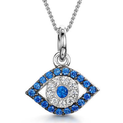 Sterling Silver  Evil Eye Necklaces Set With Cubic Zirconia StonesPendants - JOOLS By Jenny Brown