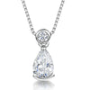 Sterling Silver Pendant -Teardrop CZ Stone With Round Rub Set BalePendants - JOOLS By Jenny Brown