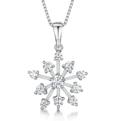 Sterling Silver Snowflake - Cubic Zirconia Stone Set SnowflakePendants - JOOLS By Jenny Brown