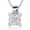 Sterling Silver Pendant -Square CZ With Four Silver Corner SettingsPendants - JOOLS By Jenny Brown