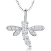 Sterling Silver Dragonfly Necklace With Four Claw Cubic Zirconia Wingspendant - JOOLS By Jenny Brown