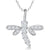 Sterling Silver Dragonfly Necklace With Four Claw Cubic Zirconia Wings