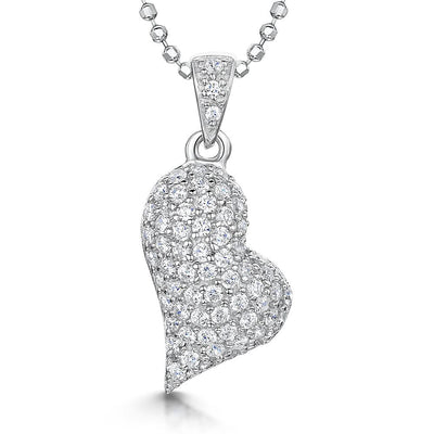 Sterling Silver Offset Heart Pendant Pave SetPendants - JOOLS By Jenny Brown