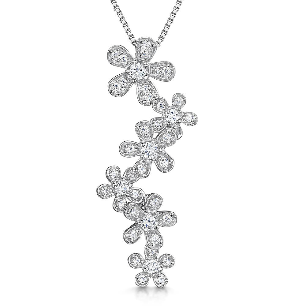 Sterling Silver Flower Drop Pendant  Featuring Six Trailing Flowers Set With Cubic Zirconia Stonespendants - JOOLS By Jenny Brown