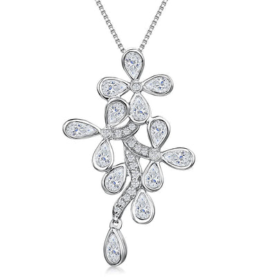 Sterling Silver Cascading Flower Pendant Set With Cubic Zirconia Stonespendants - JOOLS By Jenny Brown