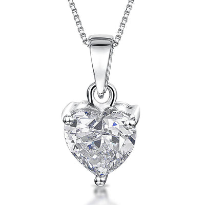 Sterling Silver Heart Pendant- Heart Shape Cut Cubic Zirconia Stone On Silver BalePendants - JOOLS By Jenny Brown