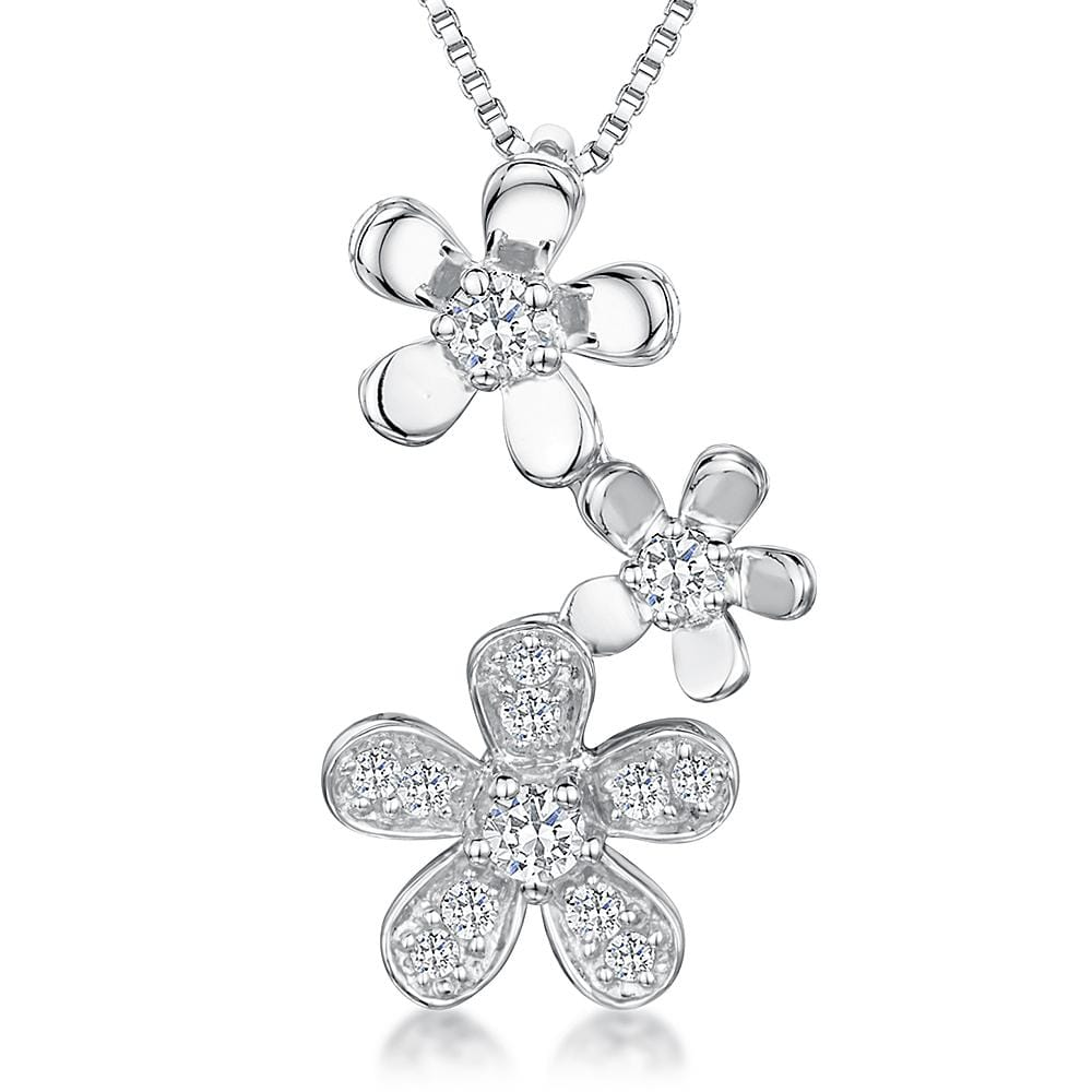 Sterling Silver Three Flower Drop Pendant Featuring  Cubic Zirconia Stone Set Petals - JOOLS By Jenny Brown