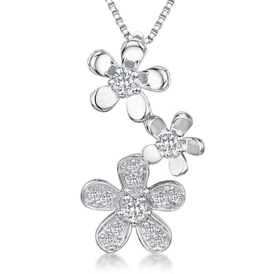 Sterling Silver Pendant Featuring Three Silver And CZ Stone Set FlowersPendants - JOOLS By Jenny Brown