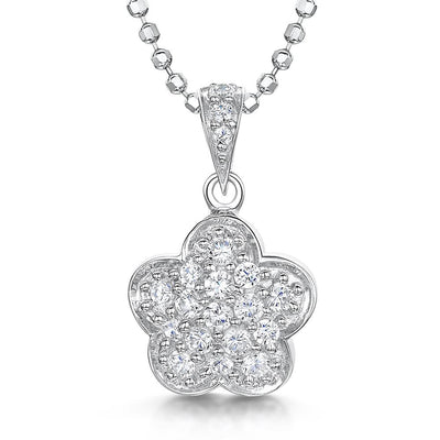 Sterling Silver Clover Flower Set In A Cluster Of Pave Set Cubic Zirconiaspendants - JOOLS By Jenny Brown