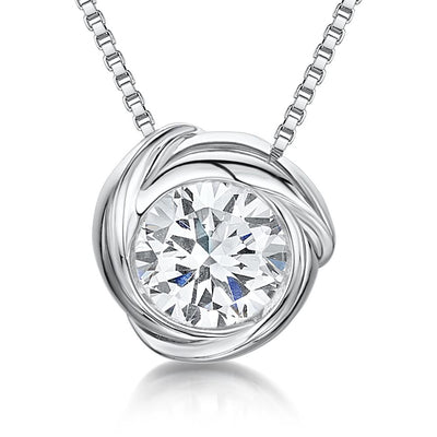 "Sterling Silver Pendant- Single CZ Stone in ""Swirl"" Round SurroundPendants - JOOLS By Jenny Brown"