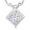 Sterling Silver Pendant - Square CZ Stone WithRub Over Setting &Cross Over BalePendants - JOOLS By Jenny Brown