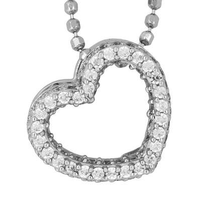 Sterling Silver Pendant - With An Open Pave Set Cubic Zirconia HeartPendants - JOOLS By Jenny Brown