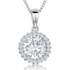 Sterling Silver Pendant- Round CZ Stone WithPave SurroundPendants - JOOLS By Jenny Brown
