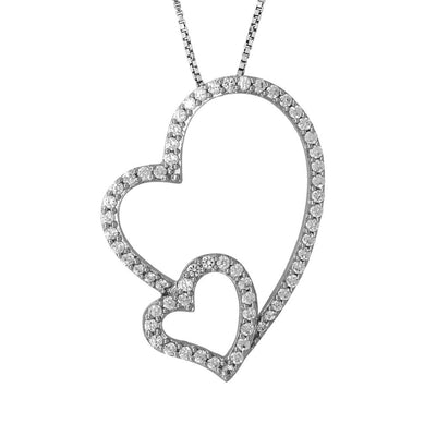 Sterling Silver Heart Pendant-  An Open Cubic Zirconia Pave Set Heart WithSmall Heart InsetPendants - JOOLS By Jenny Brown