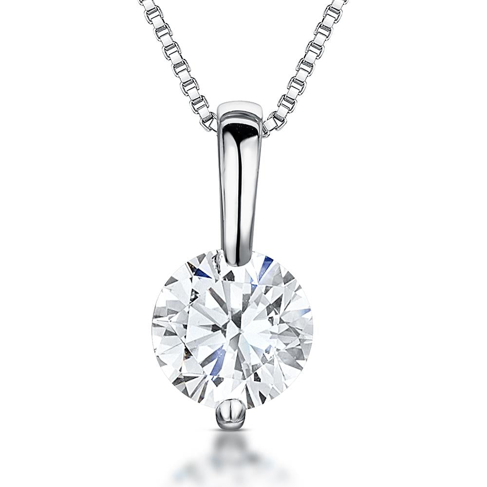 Sterling Silver Pendant - Single 2 Carat Brilliant Cut Round CZ With  Silver Bale - JOOLS By Jenny Brown