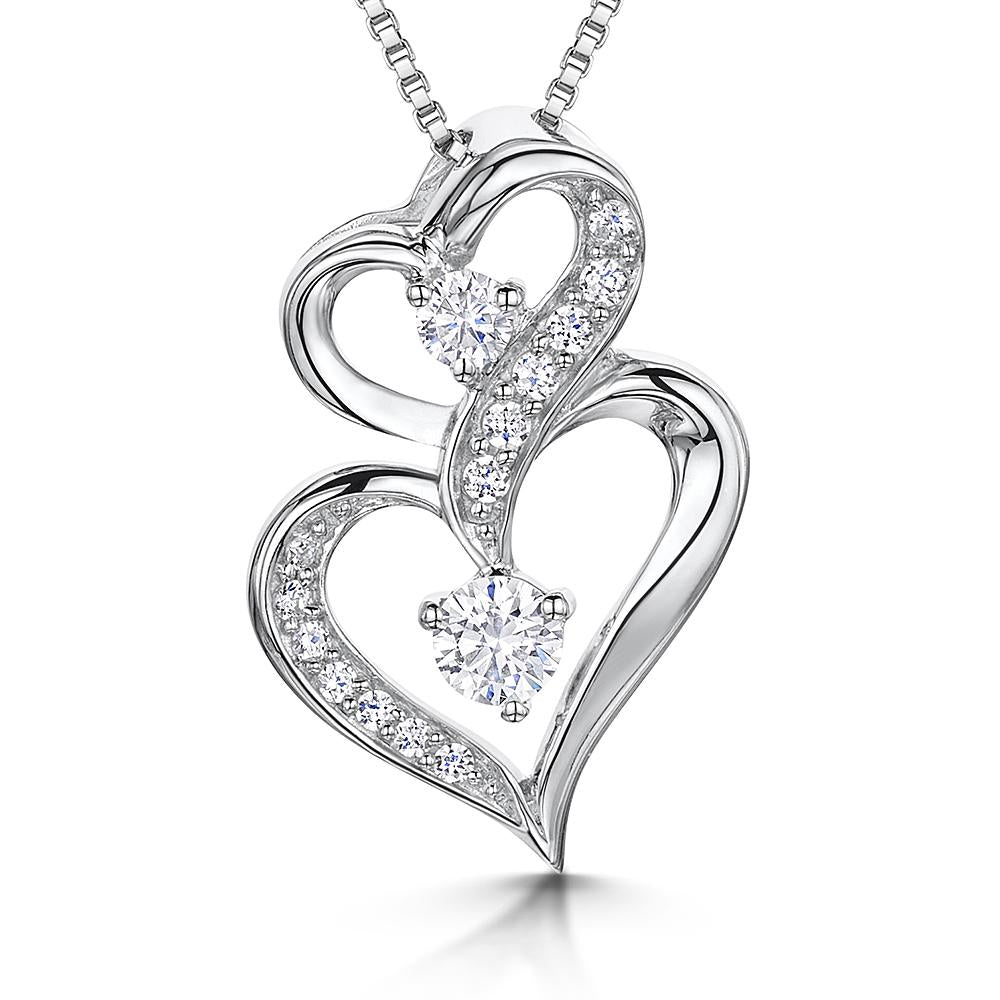 Sterling Silver Pendant - Double Hearts &Two Round Stone Setting. 16-18 inch Silver Chain - JOOLS By Jenny Brown
