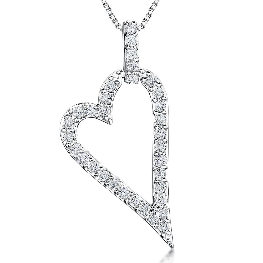 Sterling Silver Pendant - Pave Set Open CZ Heart WithPave Set Bale - JOOLS By Jenny Brown