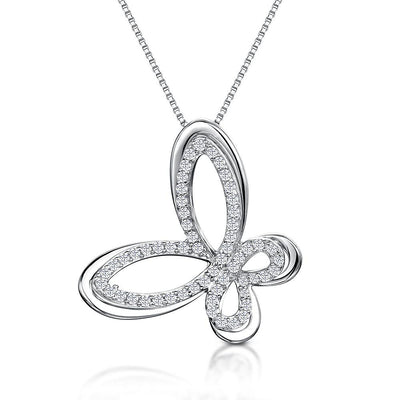 Sterling Silver Butterfly Necklace  With A Silver Outline and Pave Set Centrependant - JOOLS By Jenny Brown