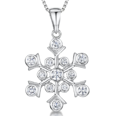 Sterling Silver Snowflake Pendant - Set With Rub Set  Cubic Zirconia StonesPendants - JOOLS By Jenny Brown