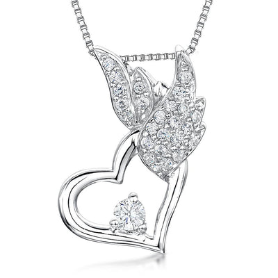 Sterling Silver Open Heart Pendant     With Garland Cubic Zirconia Pave WingsPendants - JOOLS By Jenny Brown