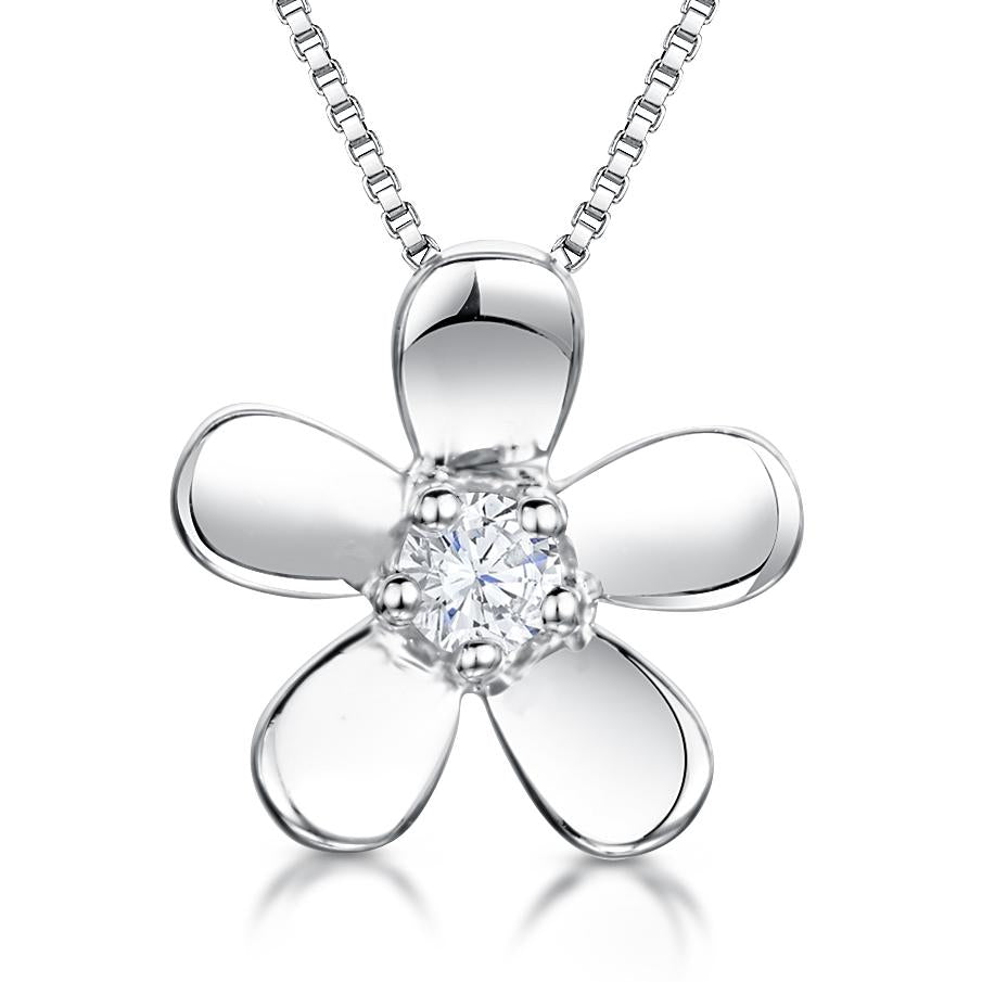 Sterling Silver Flower Pendant With Cubic Zirconia Centre - JOOLS By Jenny Brown