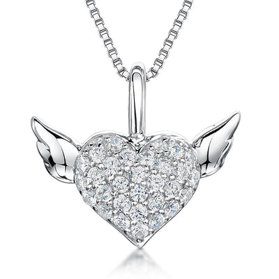 Sterling Silver Heart Pendant - Set WithCubic Zirconia Pave Set Heart & Silver WingsPendants - JOOLS By Jenny Brown
