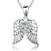 Sterling Silver Wing Pendant Set With A Cubic Zirconia Heart CentrePendants - JOOLS By Jenny Brown