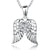 Sterling Silver Wing Pendant Set With A Cubic Zirconia Heart Centre