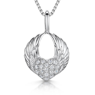 Sterling Silver Pendant Heart Held in Open Silver Wings Set With Cubic Zirconia Pave StonesPendants - JOOLS By Jenny Brown