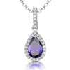 Sterling Silver Amethyst Zirconia Teardrop PendantPendants - JOOLS By Jenny Brown