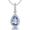 Sterling Silver Blue Topaz  Zirconia Teardrop PendantPendants - JOOLS By Jenny Brown