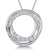 Sterling Silver Circle Pendant With Cubic Zirconia Stone Set Outer Cirles And A Polished Silver Centre