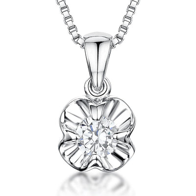 Sterling Silver High Polished Flower and A One Carat Cubic Zirconia Centrependants - JOOLS By Jenny Brown