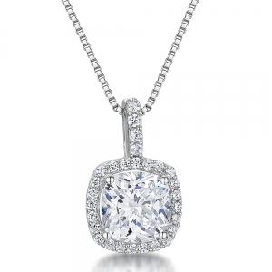 Sterling Silver Cushion Cut Pendant With Coloured Cubic Zirconia- Halo Style - JOOLS By Jenny Brown