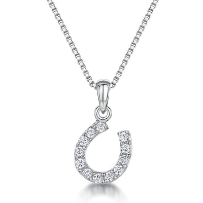 Sterling Silver Horseshoe Pendant Set Throughout With 1.75 MM Cubci Zirconia StonesPendants - JOOLS By Jenny Brown