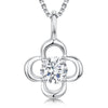 Sterling Silver Pendant - Four Open Silver Petals With Centre CZ StonePendants - JOOLS By Jenny Brown