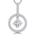 Sterling Silver White Zirconia Open Circle Pendant With A Single Suspended Stone Centre